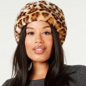 Nine West Faux Fur Animal Print Cuff Cloche Hat